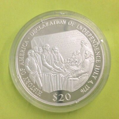 Republic of Liberia $20 Silver Proof Coin  Declaration Of Independence - COA