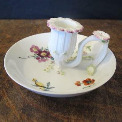 19thC MEISSEN PORCELAIN CHAMBERSTICK WITH FLORAL HANDPAINTED DECORATION A/F