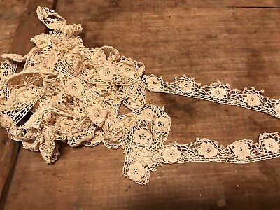 Lot 5 1/2 Yards Antique Lace Ecru Trim Hand Made Victorian 1920 Vintage Roses