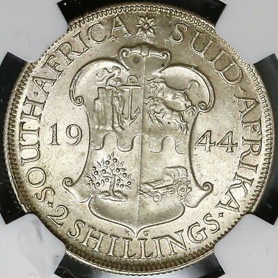 1944 NGC MS 62 South Africa Silver 2 Shillings Scarce Date Coin (17062901C)