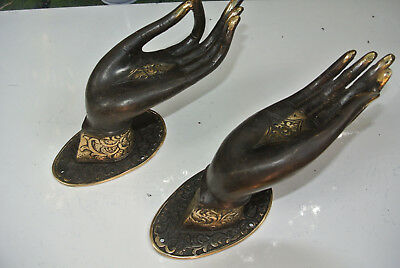 2 BUDDHA DOOR handle solid age brass antique old style HAND fingers 20cm L & R B