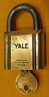 Vintage YALE & TOWNE Brass Padlock with Original Key