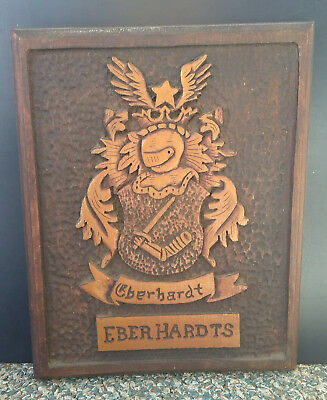 Vintage 1960s Hand-carved EBERHARDTS Family Crest Plaque