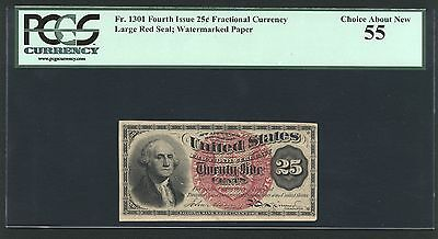 "U.s. 1869-75 25 Cents Fractional Currency Fr-1301 Certified Pcgs ""about New-55"""