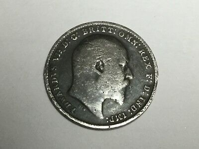 GREAT BRITAIN 1908 three pence small silver coin circulated