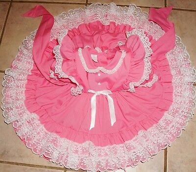 Vintage Mini World Pink Sz 9-12 mo Frilly Lace Tiered Pinafore Dress