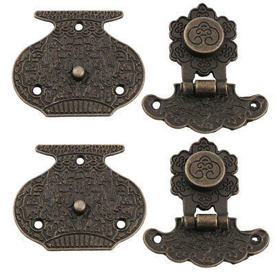 2 Sets Retro Style Gift Jewelry Wooden Box Hasp Latch Lock Buckle Decorative