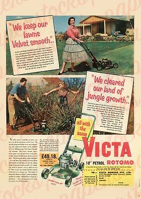 """c.1950's VICTA 18 ROTOMO 18"""" LAWN MOWER  TOE CUTTER VINTAGE ADVERTISING A3 PRINT"""