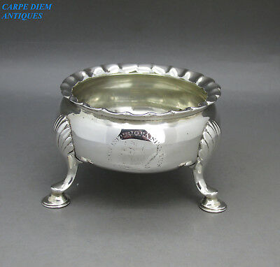 ANTIQUE GEORGE II SOLID STERLING SILVER CAULDRON SALT BY D.HENNELL, 75g, 1751
