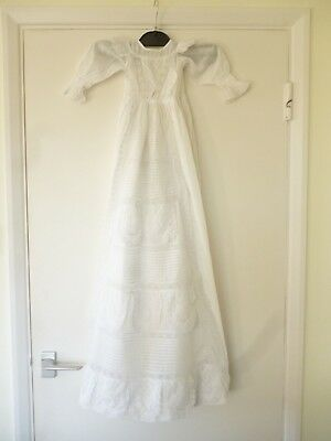V. long antique baby Christening gown unusual crisscross pleat detail on front