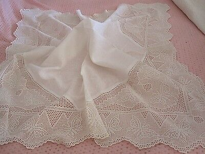 Lovely Vintage Irish Linen White Tablecloth With Hand Crochet Lace Inserts & Edg