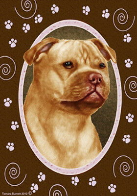 Large Indoor/Outdoor Paws Flag - Orange Staffordshire Bull Terrier 17247