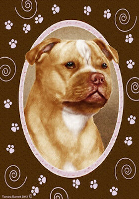 Large Indoor/Outdoor Paws Flag - Orange & Wh. Staffordshire Bull Terrier 17246
