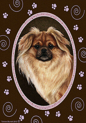 Large Indoor/Outdoor Paws Flag - Sable Tibetan Spaniel 17477