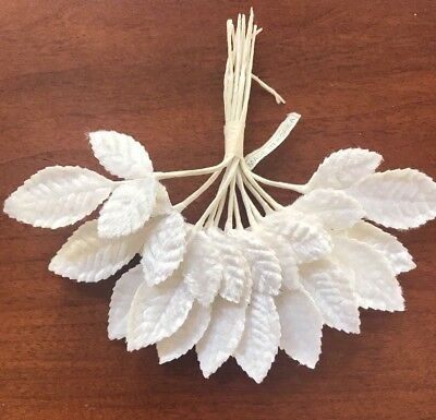 "Vintage Millinery Flower Velvet Leaf 12pc Lot White 2"" for Hat + Wedding Trim ZZ"