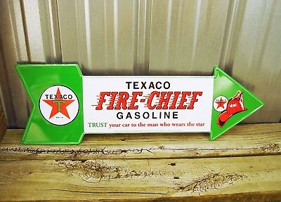"Texaco Fire Chief Gasoline 27"" Arrow Metal Tin Sign Vintage Garage Man Cave Gas"