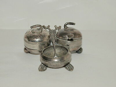 C19th SILVER PLATED CRUET WITH PEPPER & MUSTARD POTS STYLED AS CURLING STONES