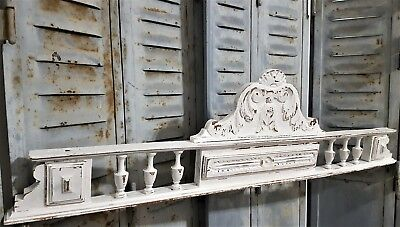Shabby Hand Carved Wood Pediment Antique French Architectural Crown Salvage