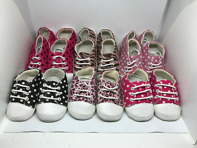 Wholesale Infant Crib Shoes, 9 Pair, New, First Quality, Canvas, One Low Price