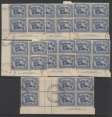1946 3½d VICTORY COMMEMORATION - 7 Imprint blocks of 4, USED