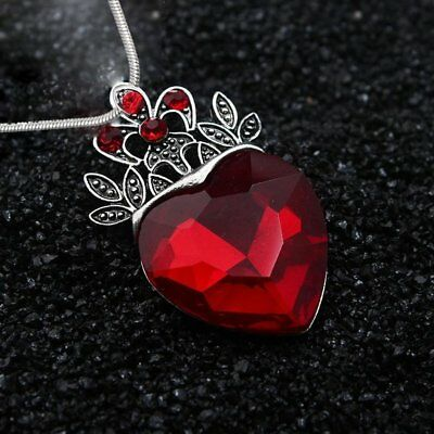 Mother's Day Evie Descendants Red Crystal Heart Crown Pendant Necklace Jewelry