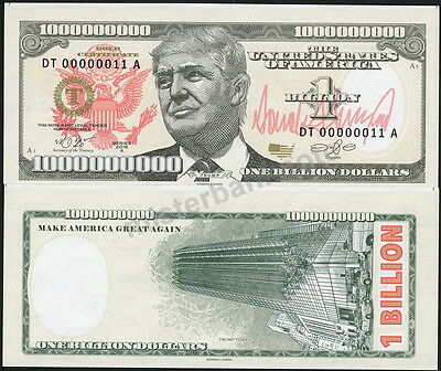 Usa One Billion Dollars ($1000000000) Donald Trump Security Fantasy Art Note