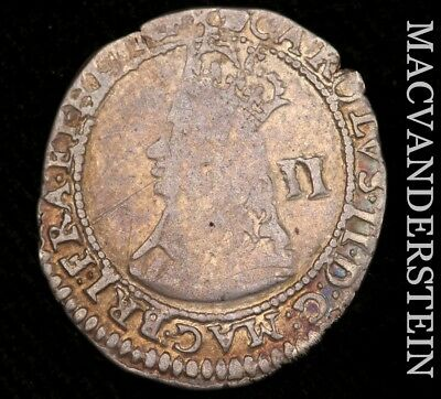 Great Britain, Charles Ii: 1660-1662 Two Pence- Scarce !! Very Fine !!  #h4722