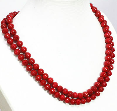"18/"" 24/"" 36/"" 8//10// 12mm Coral Red South Sea Shell Pearl Round Beads Necklace AAA"