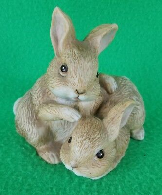 "Porcelain Brown Bunnies Homco Figurine #1455 - 3 1/2"" Tall - VGC"