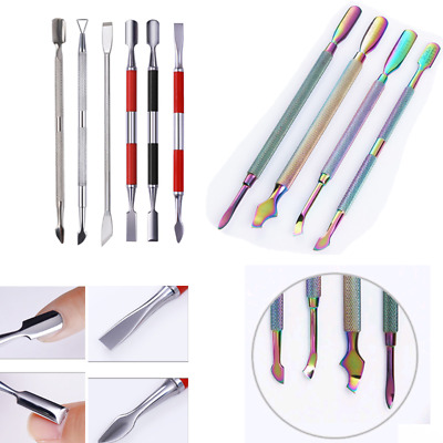 Nails Cuticle Pusher Remover Stainless Steel Nail Art Manicure Tools Rainbow DIY