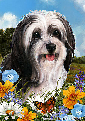 Garden Indoor/Outdoor Summer Flag - Black & White Tibetan Terrier 184781