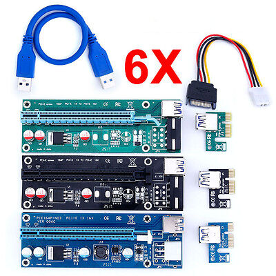 6X USB 3.0 Pcie PCI-E Express 1x To 16x Extender Riser Card Adapter BTC Cable SP