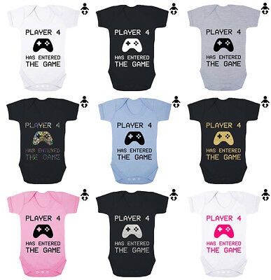 PLAYER 4 HAS ENTERED THE GAME, gaming, gamer, funny, BABY VEST / GROW Bodysuit