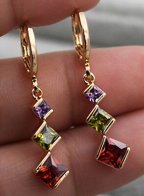 18K Yellow Gold Filled- 1.3'' Square Amethyst Ruby Emerald Topaz Dangle Earrings
