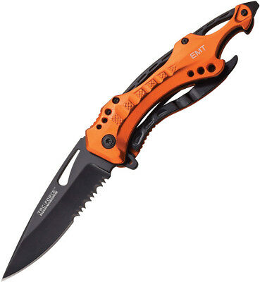 "Tac Force Emergency 3.25"" Folding Linerlock A/O Stainless Orange Handle Knife"