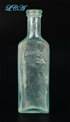 Antique DAVIS Vegetable PAIN KILLER quack medicine bottle TOM SAWYER & Huck Finn
