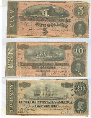1864 $5,$10,$20,$50 & $100 Dollars Confederate States Of America Notes 5 Total