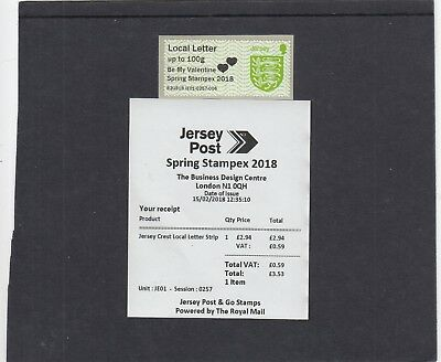 Jersey 2018 Post & Go Shield Be My Valentine STAMPEX overprint single local let