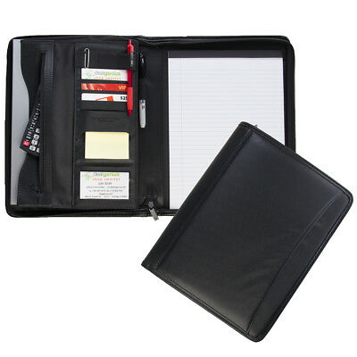 2pk Leatherette Zippered Padfolio Business Portfolio Case With Notepad & Pockets