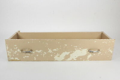 Antique Solid Wood Narrow Drawer Primitive Rustic Shadow Box Beige Paint