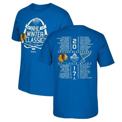 Chicago Blackhawks vs St. Louis Blues Reebok 2017 NHL Winter Classic T-Shirt Men
