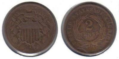 1864 Two Cent Piece Old US Civil War Antique Copper Coin