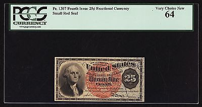 "U.s. 1869-75 25 Cents Fractional Currency Fr-1307 Certified Pcgs ""choice-64"""
