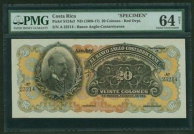 "Costa Rica  1909-17 20 Colones  ""specimen"" Banknote, Certified Choice Pmg-64-Net"