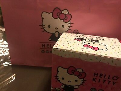 Hello Kitty Cafe Exclusive Pop-Up Store Coffee Cup Mug with box NEW & Bag