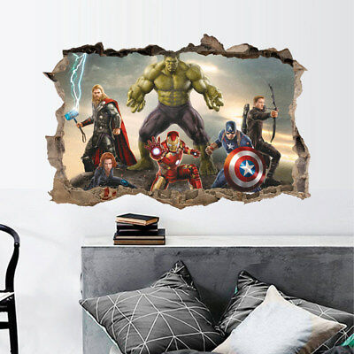 3D Art Decal Home Vinyl Removable Decor The Avenger Hulk Wall Mural Stickers