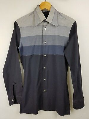 "Vtg 1970s Grey Block Long Sleeve Slim Polycotton Shirt Mod Disco -14.5""/S- EX49"