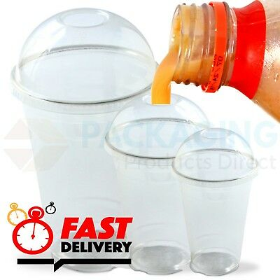 12Oz Medium Smoothie Cups With Domed Lids Clear Plastic Party Milkshake Cup Lid