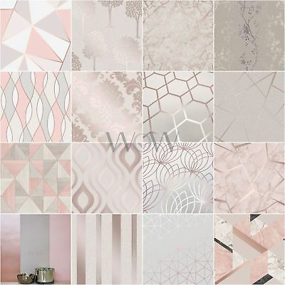 Rose Gold / Pink Grey Beige Wallpaper Stripe Geometric Damask Marble Metallic