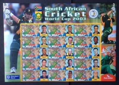 South Africa - 2001, S. African Cricket World Cup 2003 sheetlet - MNH